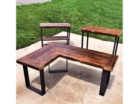 Reclaimed Wood L Shaped Desk 2