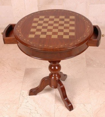 Round Chess Table With Drawers Jpg