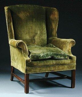 810 a good wingback chair in green velvet height 40
