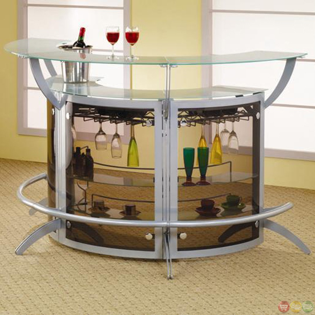 Contemporary Silver Metal Glass Home Entertainment Bar Unit Coaster 100135