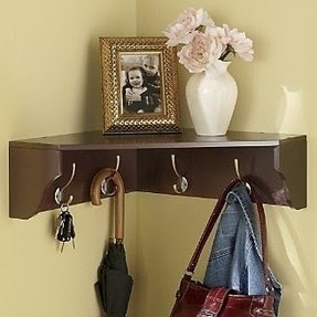 Corner Shelf With Hooks