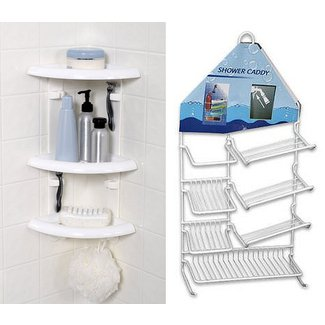 Plastic shower corner shelf