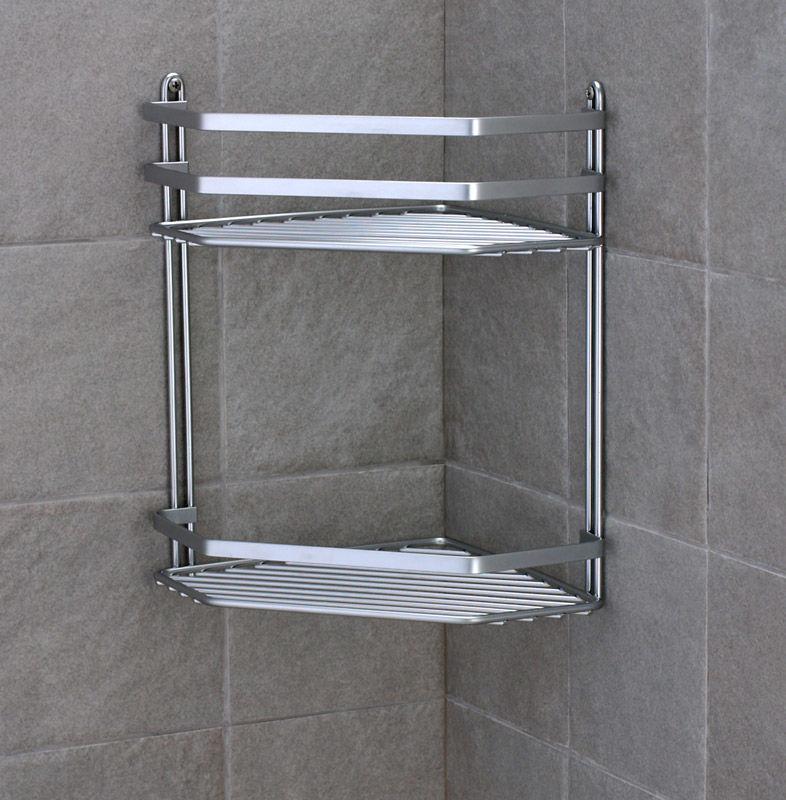 2 Tier Chrome Bath Organiser Corner Shelf Unit Shower Caddy Storage Rack