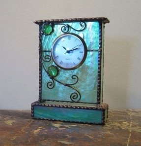 Unique Stained Gl Mantle Shelf Clock Green W Purple And