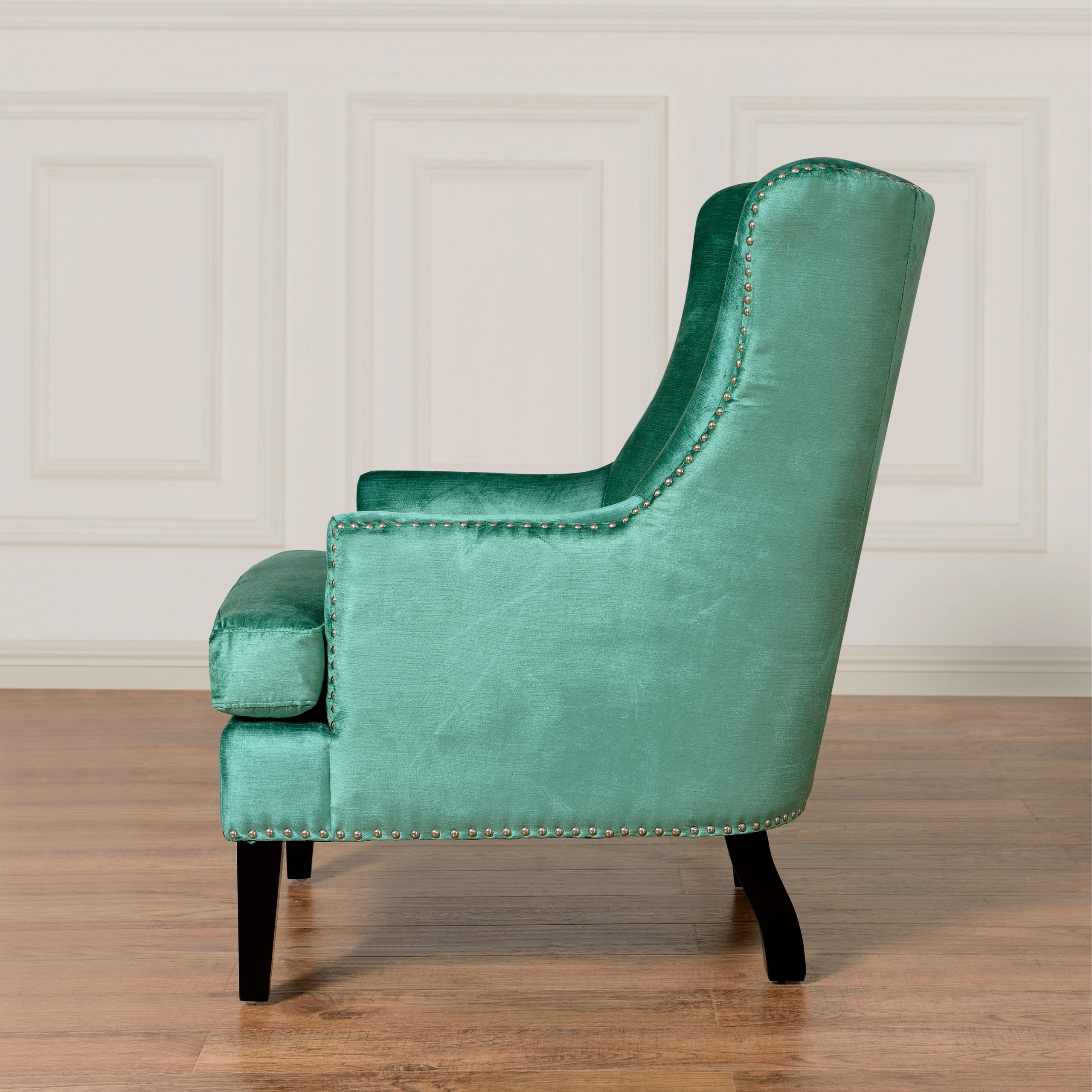 Velvet Wingback Chair 1