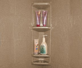 Wall mounted corner shower caddy