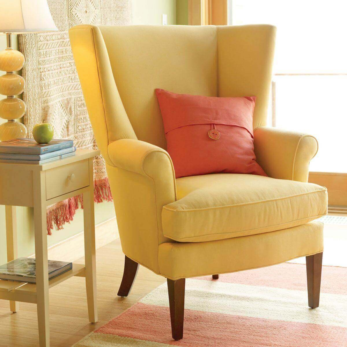 Yellow wingback chair