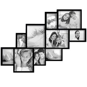 Black wood wall hanging photo frame collage with 10 clustered