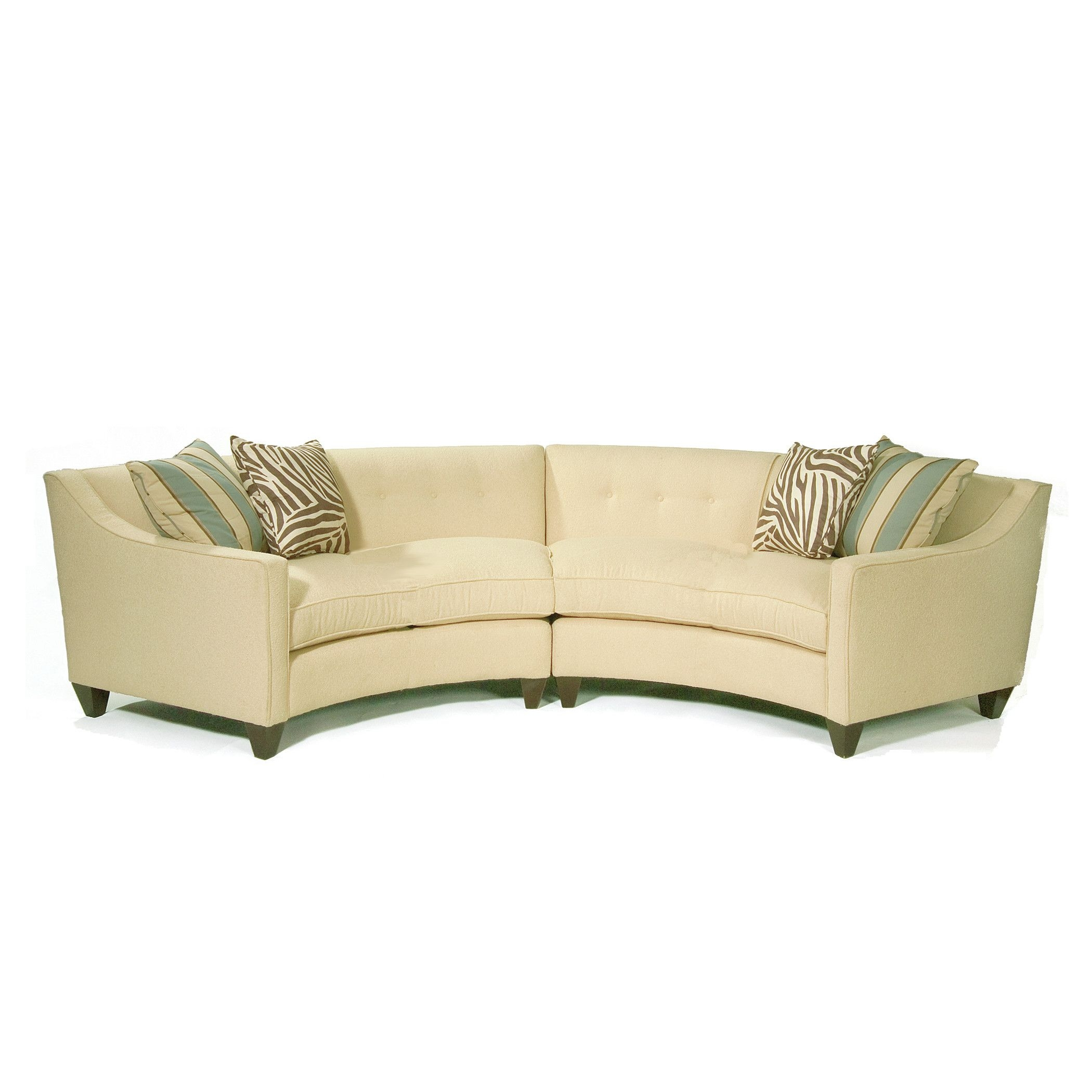Classic comfort curved sectional in milan vanilla