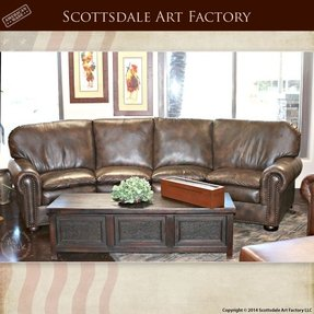 Curved leather couches