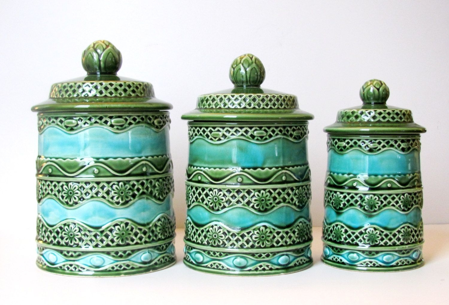 Decorative Kitchen Canisters Retro Kitchen Canisters Green Blue