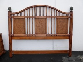 Details about tommy bahamas headboard two nightstands rattan bamboo