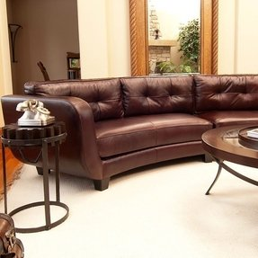 Found it at vittorio mahogany top grain leather curved sectional