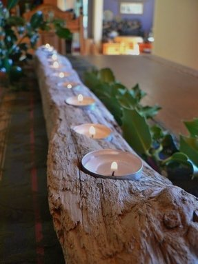 Holiday center piece rustic candle