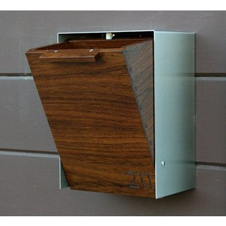 Modern mailbox narrow teak wall mounted