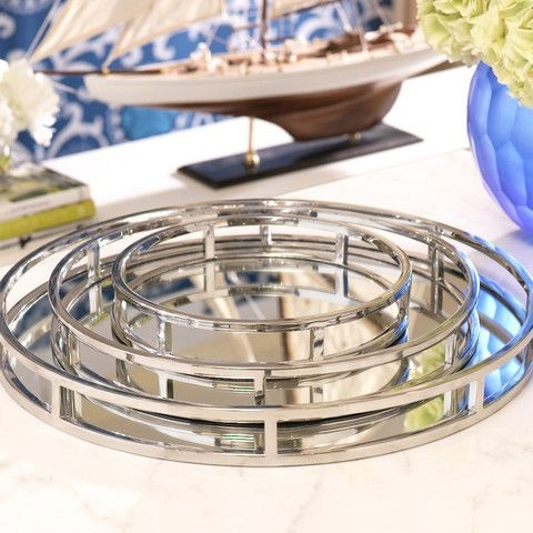 Round Mirrored Tray Foter