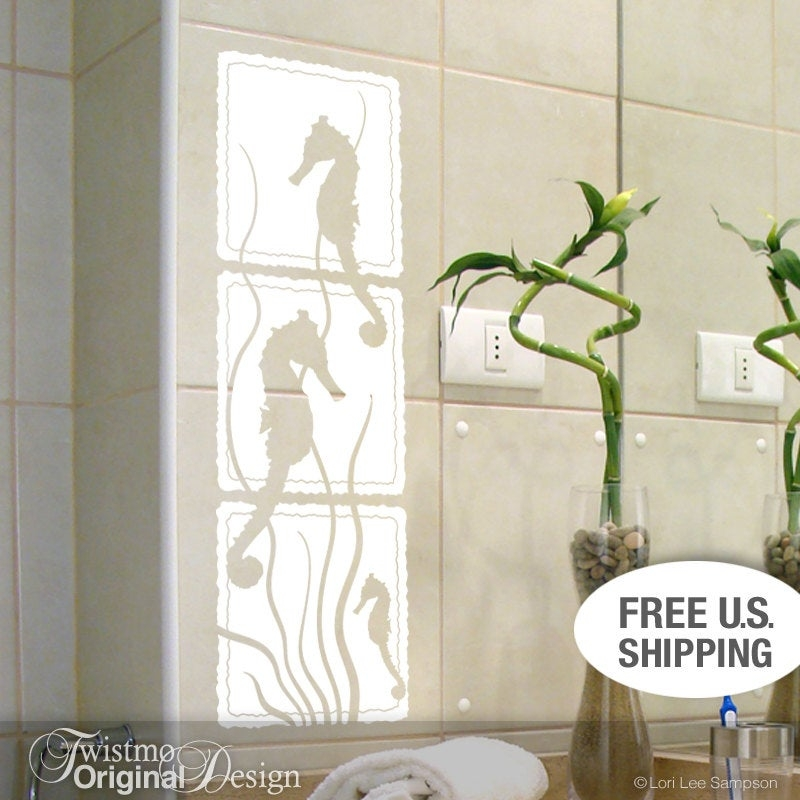 Seahorse and seaweed wall art decal for