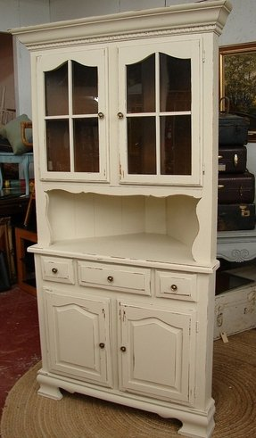 Vintage white shabby chic cottage painted corner hutch china cabinet