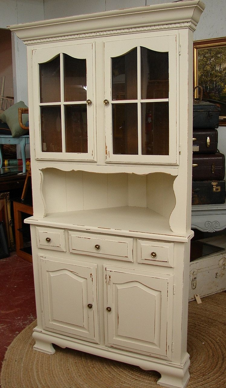 Attractive Vintage White Shabby Chic Cottage Painted Corner Hutch China Cabinet