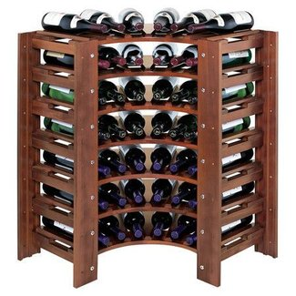 Wine racks swedish 42 bottle curved corner wine rack walnut