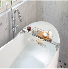 Adjustable bathtub caddy
