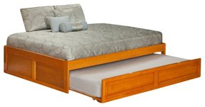 Atlantic furniture concord bed with trundle bed in caramel latte