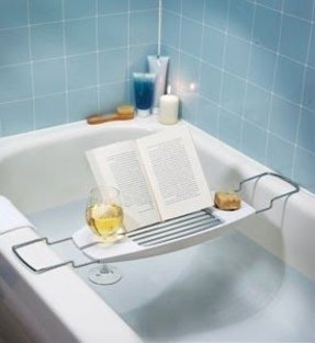 Brushed nickel bathtub caddy