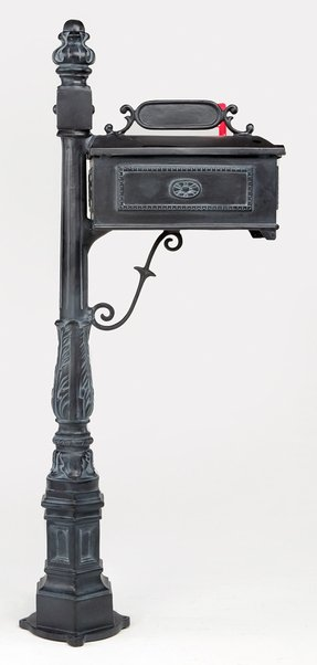 Cast aluminum mailbox and post