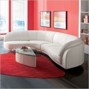 Curved Leather Sectional Foter