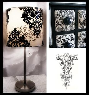Damask lamp shade 12