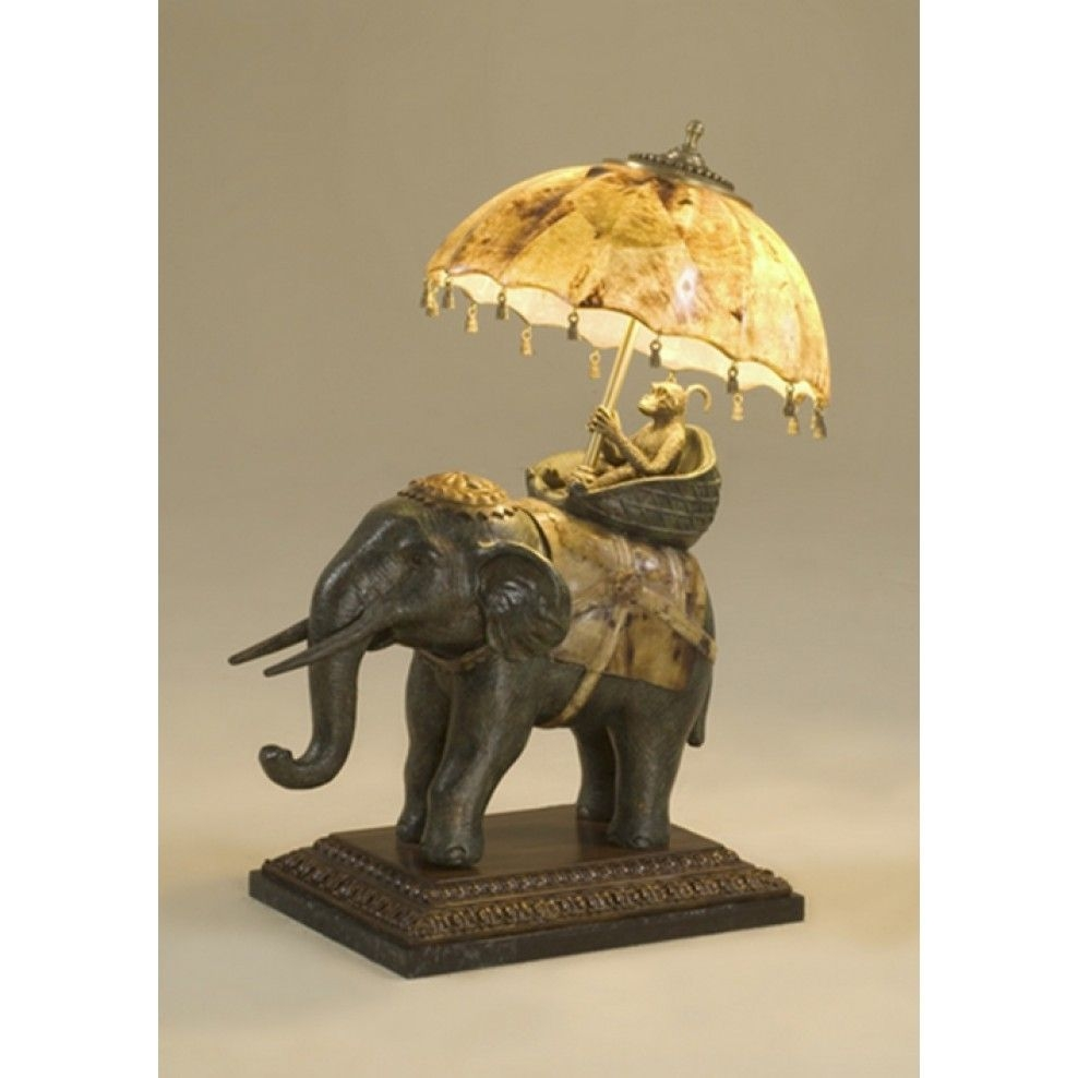 Elegant Table Lamp In Hindu Style. It Has Wooden, Sculptural Base And  Kickstand Which Is Rock Figurine Of Monkey, Which Ride On The Elephant.