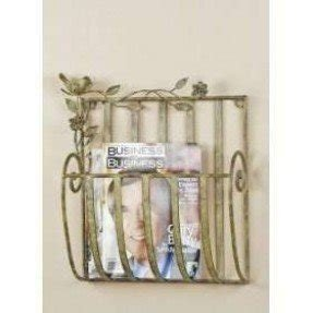 Green Metal Antiqued Wall Mounted Magazine Rack Holder Stand Newspaper