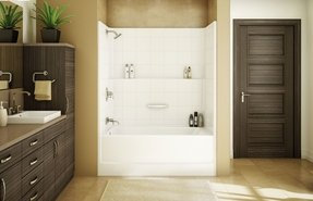 One piece bathtub shower