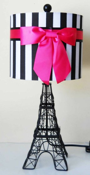 Royal paris eiffel tower moulin rouge hot pink ribbon table