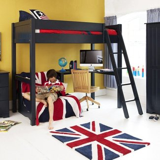 Study bunk bed frame with futon chair