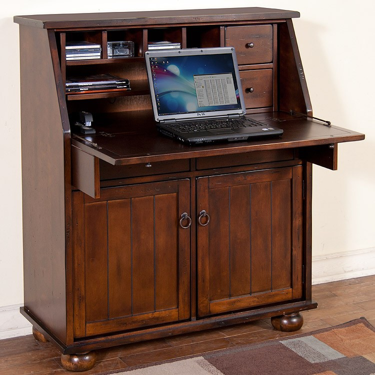 This Distressed Birch Secretary Desk Folds Down And Opens Up