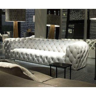 Tufted white leather sofa 2