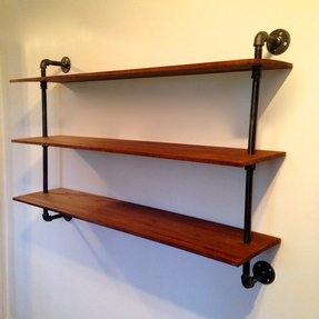 Wall mounted bookshelf reclaimed wood