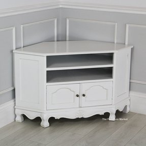 White Corner Tv Stand Carved Cabinet