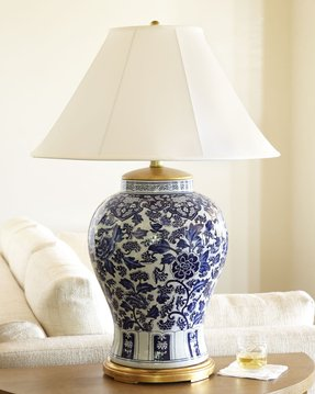 Blue and white ginger jar table lamps