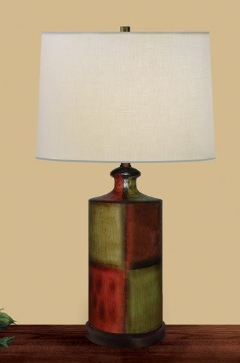 Country Column Table Lamp with Drum Shade
