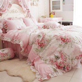Diaidi home textile romantic rose print bedding sets blue pink