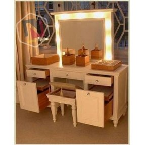 Vanity dressing table with mirror and lights foter for Vanity table with lighted mirror and bench