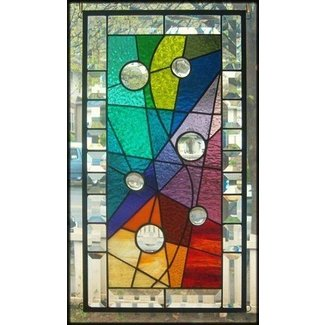 Embraced by color stained glass window panel signed and dated