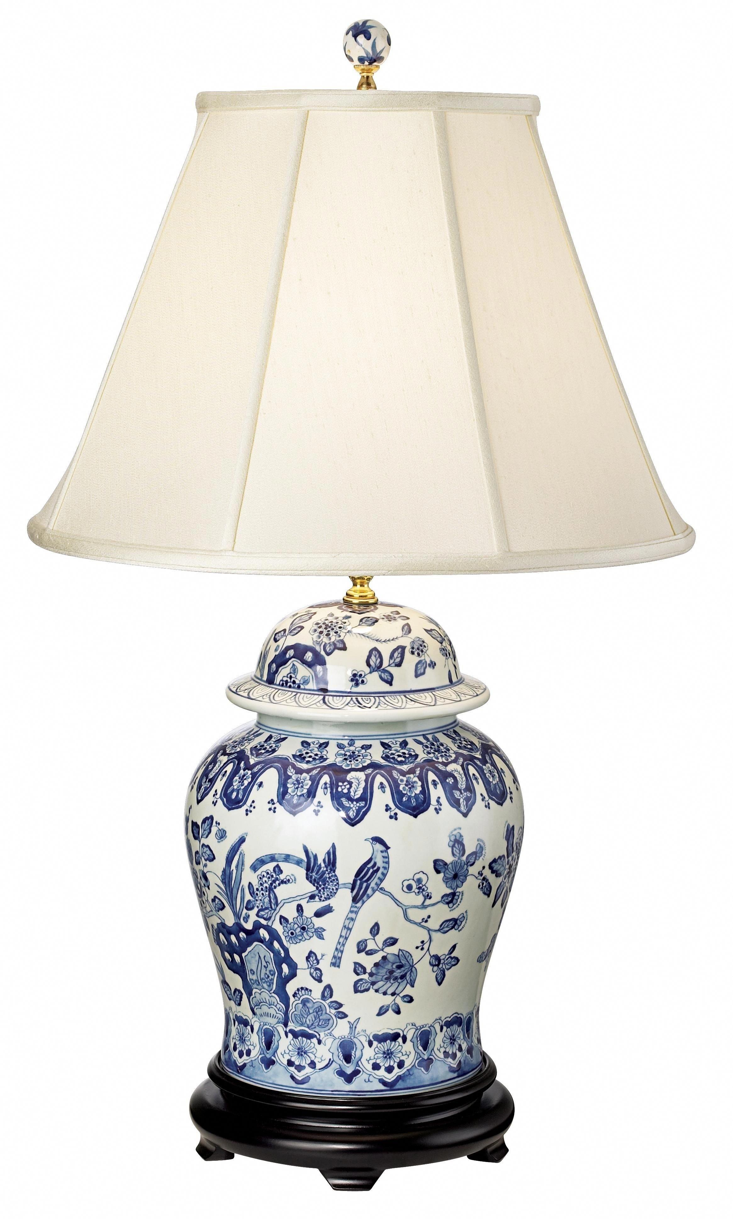 """Beautiful Oriental Porcelain Orange And White Ginger Jar Lamp Lotus Pattern 29/"""""""