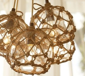 Glass buoy pendant light
