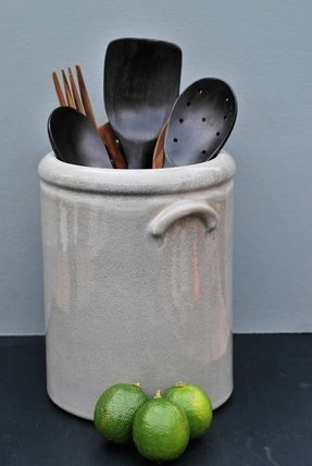 Home products cool grey pottery utensil holder