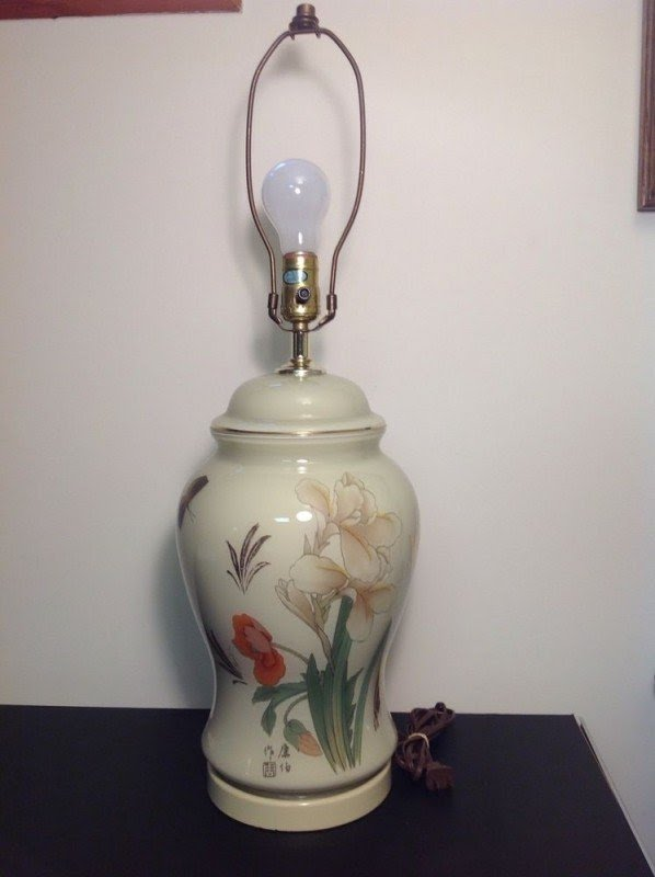 Large Oriental Porcelain Ginger Jar Table Lamp 15 Hand Painted