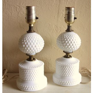 Matching pair vintage milk glass lamps