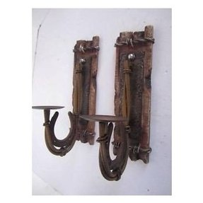 Metal horseshoe rustic candle holder sconce wall plaque western decor